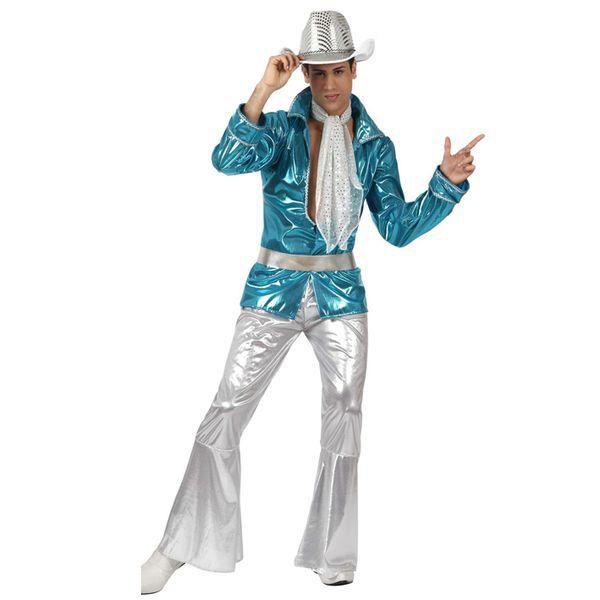Déguisement pour Adultes Disco bleu et argenté Déguisement Disco Déguisement Historique
